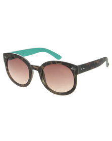Dot Dash Pool Party Tortoise Round Sunglasses Brown
