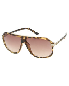 Dot Dash Matt Tortoise Flat Brow Sunglasses Brown