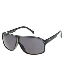 Dot Dash Matt Frame Flat Brow Sunglasses Black