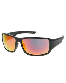 Dot Dash Matt Frame Chrome Lens Wrap Around Sunglasses Black