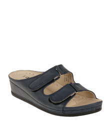 DR Hart Catalina Wedge Slip On Sandal Navy