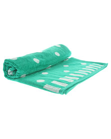 Dreyer Linen Jacquard Velour Beach Towel Polka Dots Green