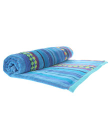 Dreyer Linen Modern Stripe Velour Beach Towel Royal Blue