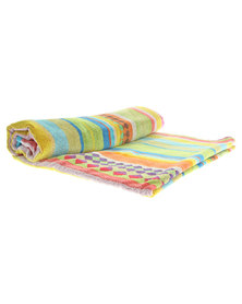 Dreyer Linen Modern Stripe Velour Beach Towel Multi