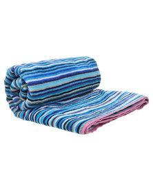 Dreyer Linen Blue Stripe Beach Towel