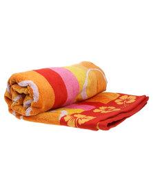 Dreyer Linen Bright Floral Stripe Beach Towel Multi