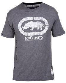 Ecko Unltd Basic SS Printed Tee Charcoal Melange