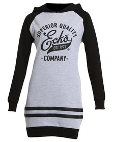 ECKÓ Unltd Long Sleeve Raglan Dress Grey