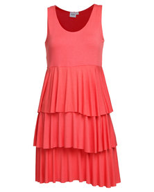EMPTY Layered Dress Coral