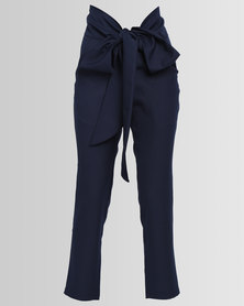 Eve Emporium Tailored Wrap Pants Navy