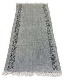Fabricor Flower Border Floor Runner Rug Grey