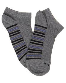Falke Half Rib Stripe Ankle Socks Mid Grey