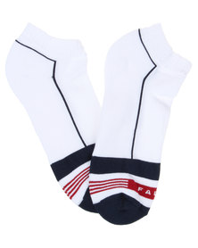 Falke 2 x 3 Stripe Ankle Socks White