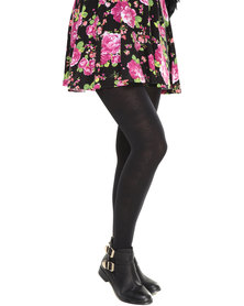 Falke Side Panel Floral Opaque Tights Black
