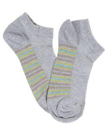 Falke Half Rib Stripe Ankle Socks Grey