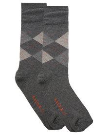 Falke Argyle Combed Cotton Socks Grey