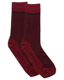 Falke Birdseye Combed Cotton Socks Black and Maroon