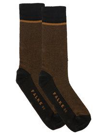 Falke Birdseye Combed Cotton Socks Black and Khaki