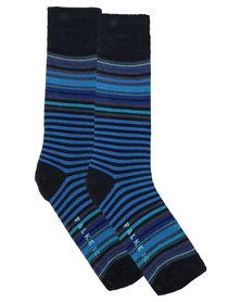 Falke Bright Stripes Combed Cotton Socks Navy