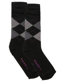 Falke Argyle Combed Cotton Socks Black and Grey