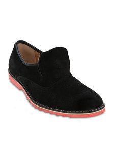 Firenze Leather Slip-On Gusset Shoes Black