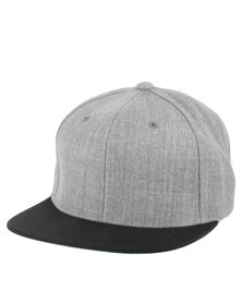 Flex fit Contrast Peak Classic Snapback Cap Heather Grey/Black Suede