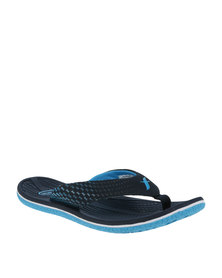 Floater Gus Printed Flat Toe Thong Sandal Navy /Blue