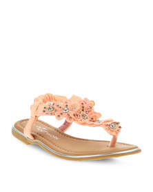 Footwork Young Girls Flat Party Sandals Peach