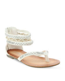 Footwork Young Girls Flat Sandals White
