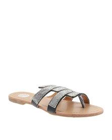 Footwork Diamante Flat Sandals Black