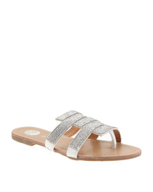 Footwork Diamante Flat Sandals White