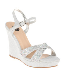 Footwork Reno High Heeled Embellished Wedge With Ankle Strap Silver