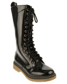 Footwork Lace-up Long Boots Black