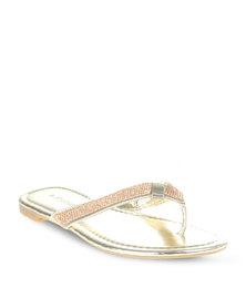 Footwork Diamante Flip Flops Gold