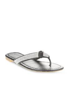 Footwork Diamante Flip Flops Black