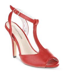 Footwork Peep-Toe T-Bar Heels Red