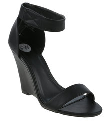 Footwork Albury Wedge Sandal With Ankle Strap Black