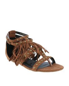 Footwork Austen Flat Embellished T-Bar Sandal With Fringe Detail Brown