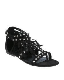Footwork Austen Flat Embellished T-Bar Sandal With Fringe Detail Black