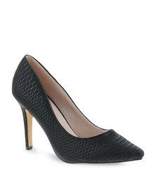 Footwork Snakeskin Pointed High Heels Black