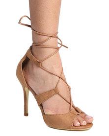 Footwork Gianna Lace Up High Heel Sandal Tan