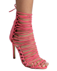 Footwork Princess Ncabile Caged High Heel Coral