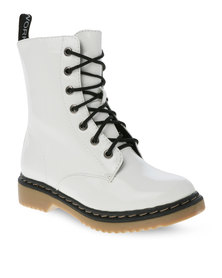 Footwork Lace-Up Boots White
