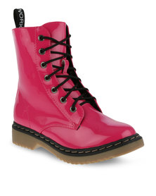 Footwork Lace-Up Boots Pink