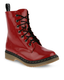 Footwork Lace-Up Boots Burgundy