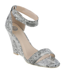 Footwork Albury Printed Wedge Sandal With Ankle Strap Black And White