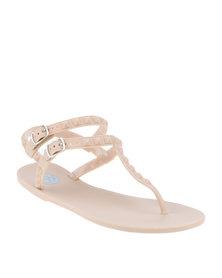 Footwork Hudson Slingback Flat Toe Thong Sandal Nude