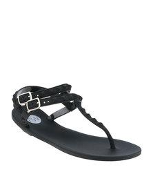 Footwork Hudson Slingback Flat Toe Thong Sandal Black