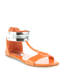 Footwork T Bar Flat Sandals Orange