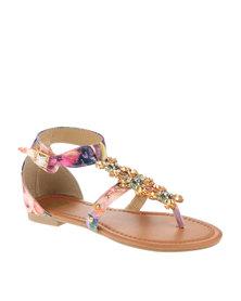 Footwork Embellished Flat Sandals Pink
